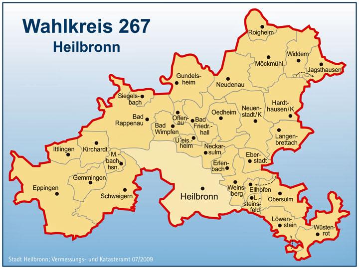Region Heilbronn Franken Karte.Wahlkreis 267 Heilbronn